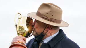 Peter Moody says give me a kiss you lovely thing! Picture: Scott Barbour–Racing Photos via Getty Images