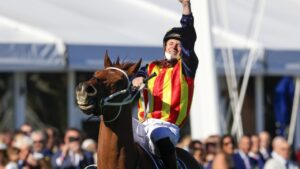 A jubilant James McDonald after Nature Strip won The Everest. Picture: Getty Images