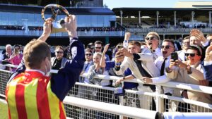 James McDonald delights the adoring crowd after Nature Strip won The Everest. Picture: Mark Evans–Getty Images