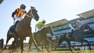 James McDonald aboard Nature Strip clings on to beat Masked Crusader in The Everest. Picture: Mark Evans–Getty Images