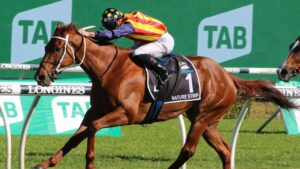 Nature Strip was outstanding in winning The Everest on Saturday. Picture: Grant Guy