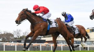 Sneaky Five, winning at Caulfield first-up, is rated Ciaron Maher and David Eustace's best chance in the Manikato Stakes. Picture: Racing Photos