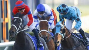 Mo'unga (right) beats Verry Elleegant in the Winx Stakes. The pair will clash in the $5 million Cox Plate on Saturday. (Photo by Mark Evans/Getty Images)