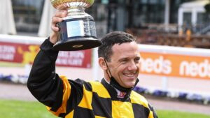 Brett Prebble after winning the Group 1 Might And Power aboard Probabeel earlier this month. Picture: Racing Photos via Getty Images