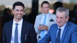 Trainers Sterling Alexiou (left) and Gerald Ryan have a high opinion of Garmish. Picture: Grant Guy
