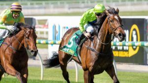 Tralee Rose surging to win the Geelong Cup with Dean Holland in the saddle. Picture: Getty Images
