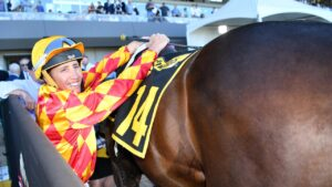 Justin Potter rides Extreme Thrill in the Gawler Cup. Picture: AAP