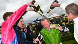 Retired Group 1 jockey Stephen Baster will looking forward to drinking champagne rathing than bathing in it after Saturday's Cox Plate should Callsign Mav win. Picture: AAP Image–Vince Caligiuri