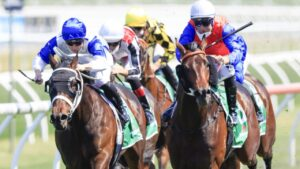 Hilal (right) beats Coastwatch in the Stan Fox Stakes. Picture: Getty Images
