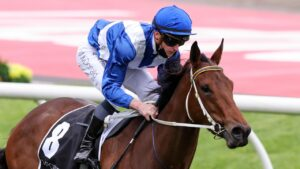 James McDonald rides Mokulua to victory in the Fillies Classic at The Valley. Picture: Racing Photos via Getty Images
