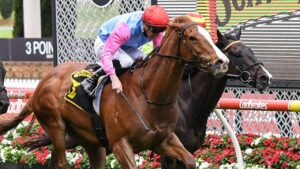 Just Folk scored an upset in the Crystal Mile. Picture: Racing Photos via Getty Images
