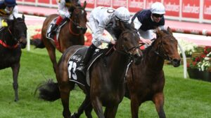 Lunar Flare taking out the Moonee Valley Gold Cup with Michael Dee in the saddle (Photo by Vince Caligiuri/Getty Images)