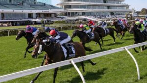 Twilight Payment ridden by Jye McNeil charging to victory in the 2020 Melbourne Cup. Picture: George Salpigtidis