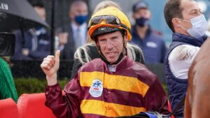 John Allen celebrates a Cox Plate for Ireland. Picture: Racing Photos via Getty Images