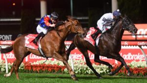 Jonker, ridden by Daniel Moor wins the Manikato Stakes at Moonee Valley. Picture:Pat Scala—Racing Photos.