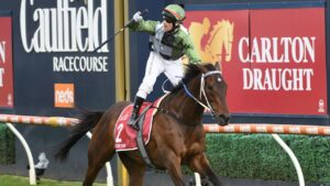Brett Prebble winning the Caulfield Cup on Incentivise. Picture: Getty Images