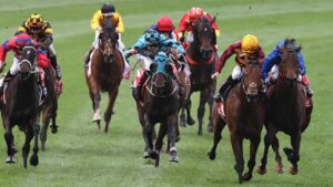State of Rest and Anamoe collide close to the winning post. Picture: Michael Klein