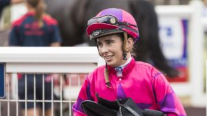 Georgina Cartwright returns after riding a winner at Toowoomba. Picture: Kevin Farmer.