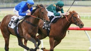 Forbes (inside) finished a close second to Anamoe on debut last November at Sandown.