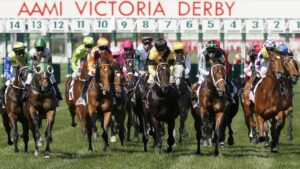 The Victoria Derby is one of the headline acts on Saturday. Photo: Darrian Traynor/Getty Images.