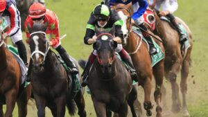 Private Eye (green and black) winning the Epsom Handicap earlier this month. Picture: Getty Images